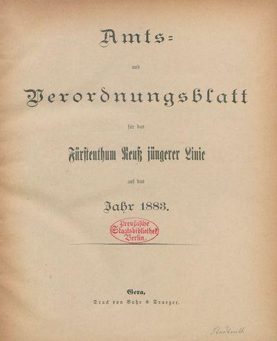 a1fa03df4f4138 Digitalisierte Sammlungen der Staatsbibliothek zu Berlin Werkansicht  Amts-  und Verordnungsblatt für das Fürstentum Reuß Jüngerer Linie(PPN746978960 ...