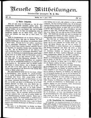 Neueste Mittheilungen vom 08.06.1882