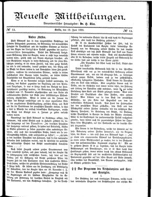 Neueste Mittheilungen vom 19.06.1882