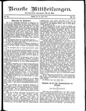 Neueste Mittheilungen vom 13.07.1882