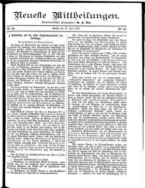 Neueste Mittheilungen vom 27.07.1882