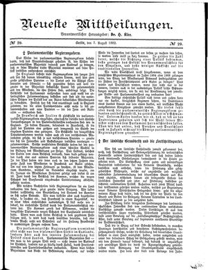 Neueste Mittheilungen vom 07.08.1882