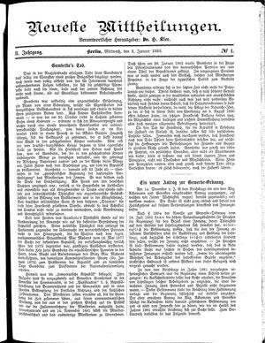 Neueste Mittheilungen vom 03.01.1883