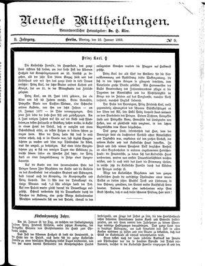 Neueste Mittheilungen vom 22.01.1883