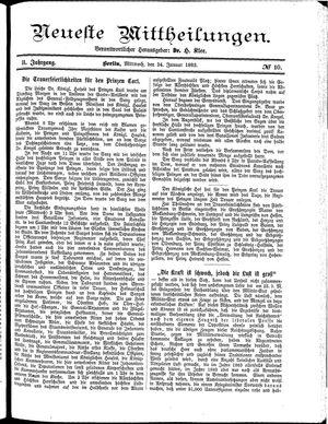 Neueste Mittheilungen vom 24.01.1883