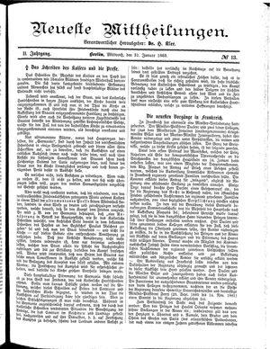 Neueste Mittheilungen vom 31.01.1883