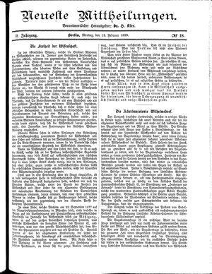 Neueste Mittheilungen vom 12.02.1883