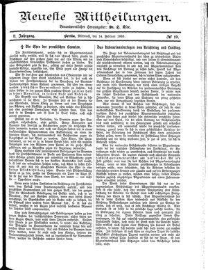Neueste Mittheilungen vom 14.02.1883
