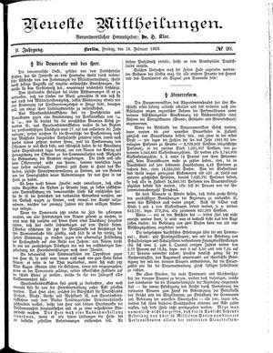 Neueste Mittheilungen vom 16.02.1883