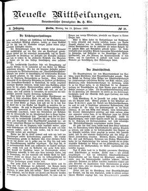 Neueste Mittheilungen vom 19.02.1883