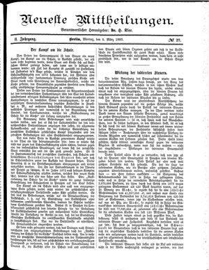 Neueste Mittheilungen vom 05.03.1883