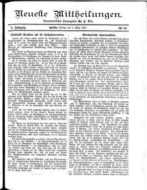 Neueste Mittheilungen vom 09.03.1883