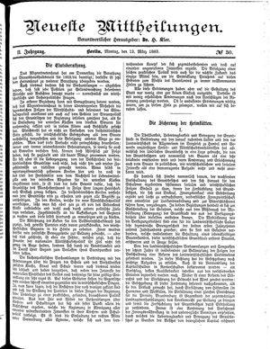Neueste Mittheilungen vom 12.03.1883