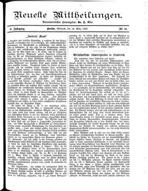 Neueste Mittheilungen vom 14.03.1883