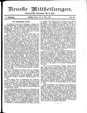 Neueste Mittheilungen vom 30.03.1883