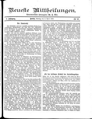 Neueste Mittheilungen vom 02.04.1883