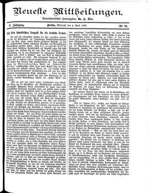 Neueste Mittheilungen vom 04.04.1883