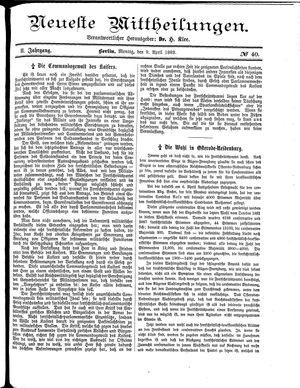 Neueste Mittheilungen vom 09.04.1883