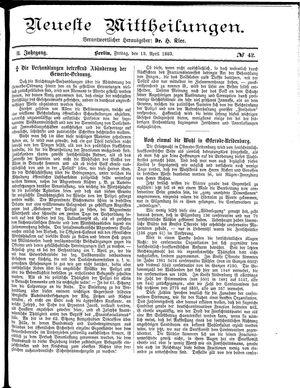 Neueste Mittheilungen vom 13.04.1883