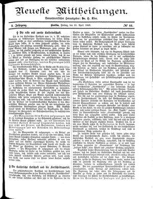Neueste Mittheilungen vom 20.04.1883