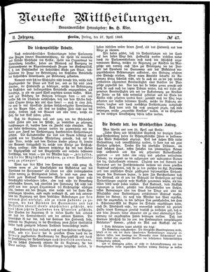 Neueste Mittheilungen vom 27.04.1883