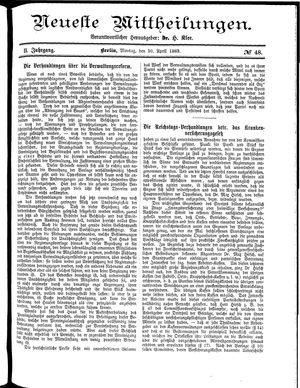 Neueste Mittheilungen vom 30.04.1883