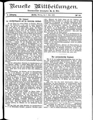 Neueste Mittheilungen vom 07.05.1883