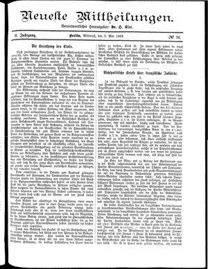 Neueste Mittheilungen vom 09.05.1883