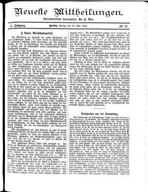 Neueste Mittheilungen vom 25.05.1883