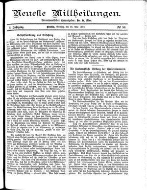 Neueste Mittheilungen vom 28.05.1883