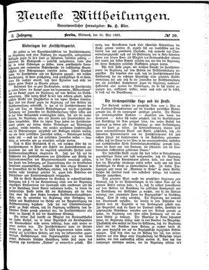 Neueste Mittheilungen vom 30.05.1883