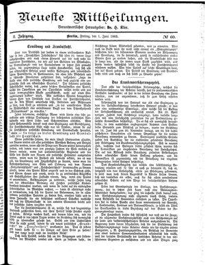 Neueste Mittheilungen vom 01.06.1883