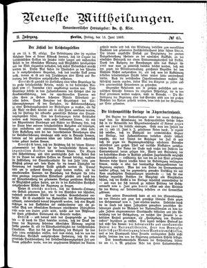 Neueste Mittheilungen vom 15.06.1883