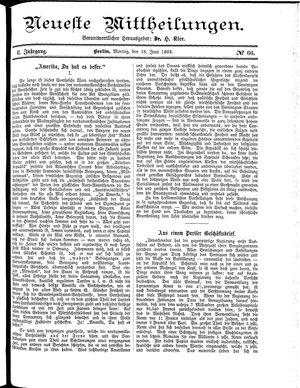 Neueste Mittheilungen vom 18.06.1883