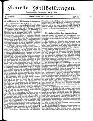 Neueste Mittheilungen vom 22.06.1883