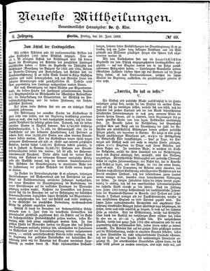 Neueste Mittheilungen vom 29.06.1883