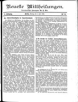 Neueste Mittheilungen vom 02.07.1883
