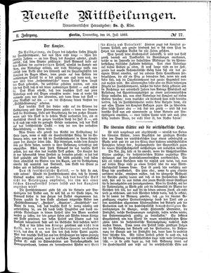 Neueste Mittheilungen vom 26.07.1883