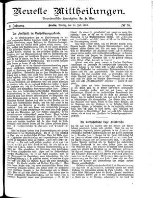 Neueste Mittheilungen vom 30.07.1883