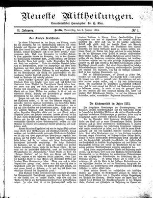 Neueste Mittheilungen vom 03.01.1884