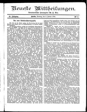Neueste Mittheilungen vom 06.01.1884