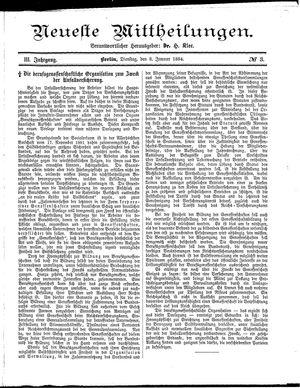 Neueste Mittheilungen vom 08.01.1884