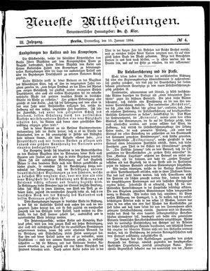Neueste Mittheilungen vom 10.01.1884