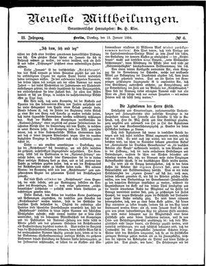 Neueste Mittheilungen vom 15.01.1884