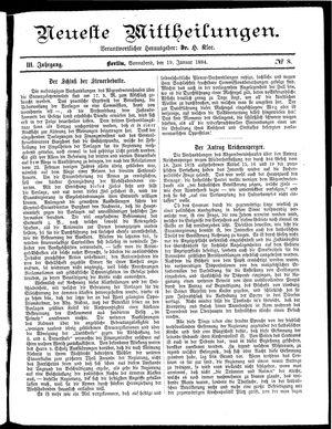 Neueste Mittheilungen vom 19.01.1884