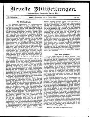 Neueste Mittheilungen vom 24.01.1884