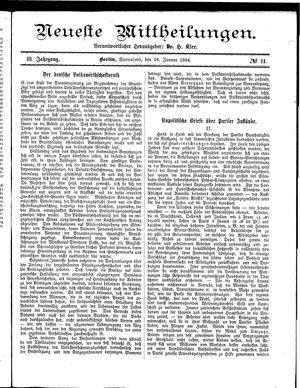 Neueste Mittheilungen on Jan 26, 1884