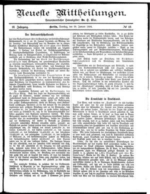 Neueste Mittheilungen vom 29.01.1884