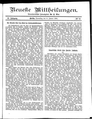 Neueste Mittheilungen vom 31.01.1884