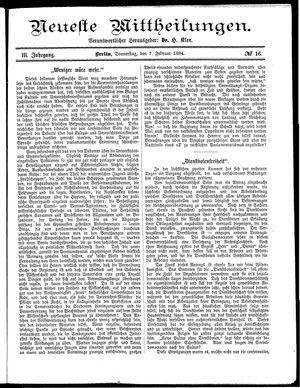 Neueste Mittheilungen vom 07.02.1884